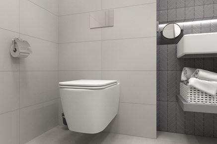 Miska wisząca w projekcie łazienki minimalistycznej