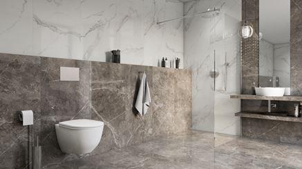 Marmurowa łazienka z kabiną walk-in