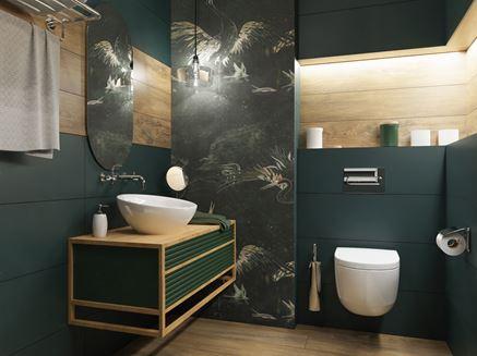 Zielona łazienka z elementami drewna i ozdobną ścianą
