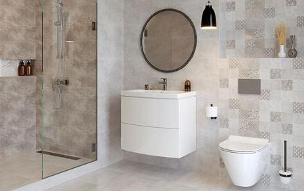 Szara łazienka z patchworkowymi płytkami Cersanit Snowdrops