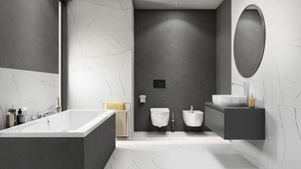 Nowoczesna łazienka wykończona płytami Azario Tanami