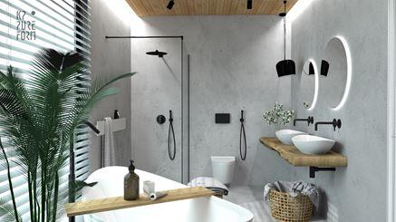 Nowoczesna łazienka z betonem i drewnianym sufitem