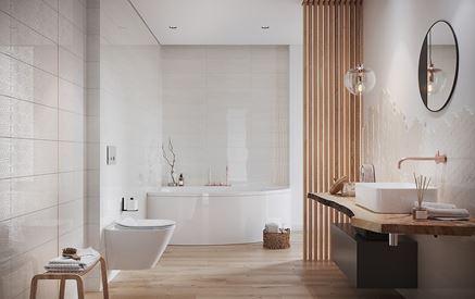 Jasna łazienka z drewnianymi elementami Cersanit Bantu