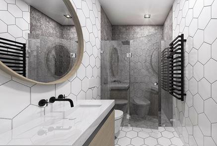 Biała łazienka z płytką hekagonalną