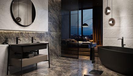 Łazienka w szarym i białym kamieniu przy sypialni