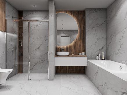 Nowoczesna łazienka w szarym kamieniu i drewnie