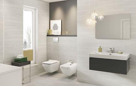 Jasna łazienka z subtelną mozaiką Cersanit Mystic Cemento