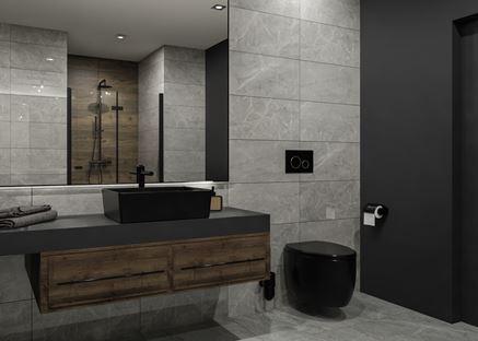 Czarna ceramika w łazience wykończonej kamieniem i drewnem