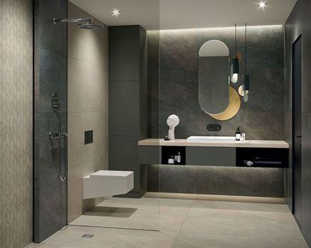 Nowoczesna łazienka z kamiennymi płytkami i mozaiką
