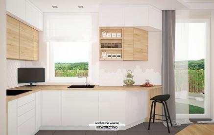 Mała, skandynawska kuchnia z oknami