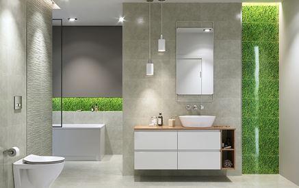 Betonowa łazienka ze szklanymi insertami Cersanit Fresh Moss