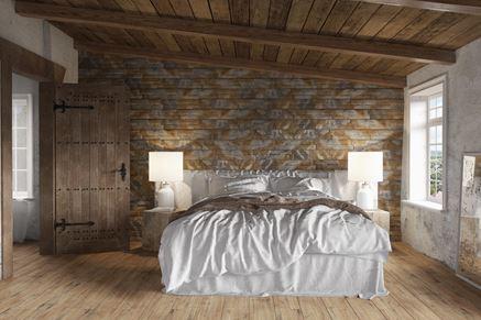 Ozdobna ściana w sypialni Stone Master Amberia Natural