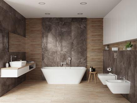 Nowoczesna, przestronna łazienka w kamieniu i drewnie