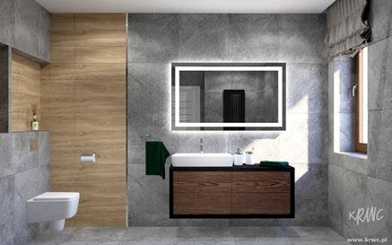Kamień i drewno - nowoczesna łazienka