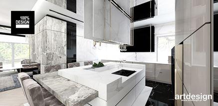 Otwarta kuchnia w stylu nowoczesnym z szarym marmurem