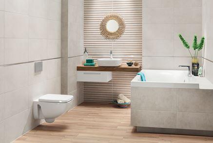 Aranżacja łazienki w betonie i drewnie