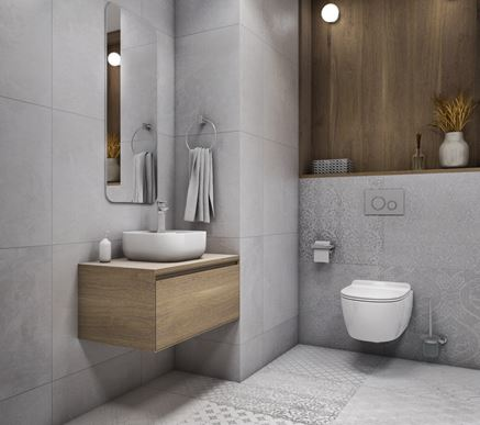 Szara toaleta z elementami drewna