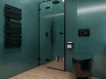 Drewno i zieleń Tubądzin My Tones w nowoczesnej łazience