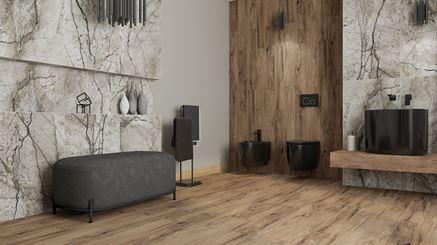 Czarna ceramika Bocchi Etna w łazience w kamieniu i marmurze
