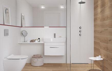 Łazienka z białymi ścianami i drewnem