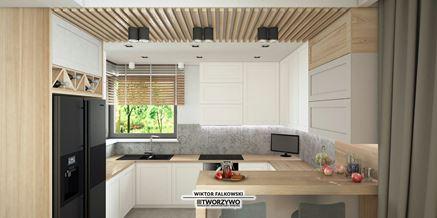 Biało-szara kuchnia z płytkami patchwork