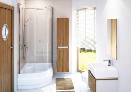 Drewno i biel w łazience