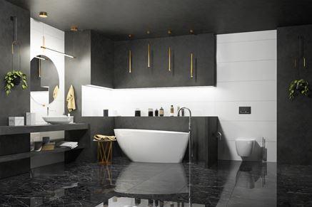 Dwukolorowa łazienka z marmurową podłogą
