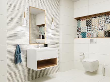 Mała łazienka z kolorową patchworkową płytką