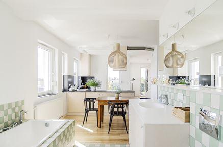Łazienka otwarta na kuchnię