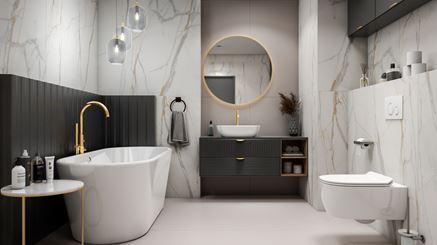 Aranżacja łazienki w marmurze w kolorze bieli i złota