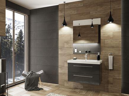 Łazienka w kolorze brązowym z płytką Paradyż