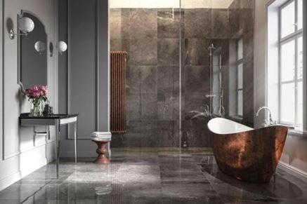 Łazienka glamour z marmurowymi płytami Nowa Gala Imperial Graphite