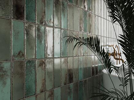 Detal zielonych płytek ściennych z kolekcji Tubądzin Curio