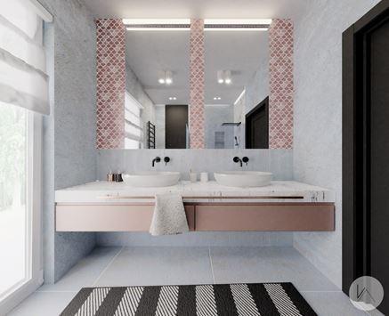 Czarne i miedziane dodatki w łazience