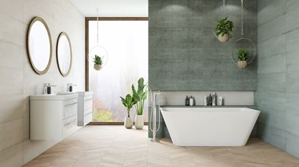 Nowoczesna, przestronna łazienka z zieloną płytką Azario Aspiro