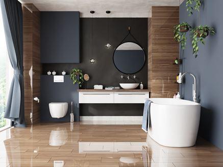 Szaro-brązowa łazienka na wysoki połysk