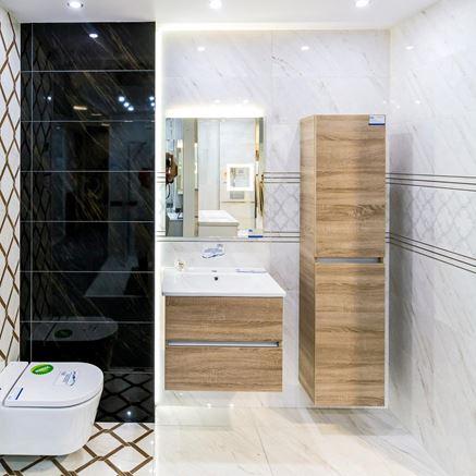 Łazienka w marmurowej aranżacji - Tubądzin Larda