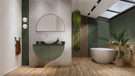 Zieleń i drewno w nowoczesnej łazience z dekorami