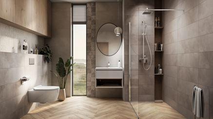 Nowoczesna łazienka w szarych płytkach Vijo Twin