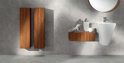 Łazienka z betonowymi ścianami Tubądzin Tokyo