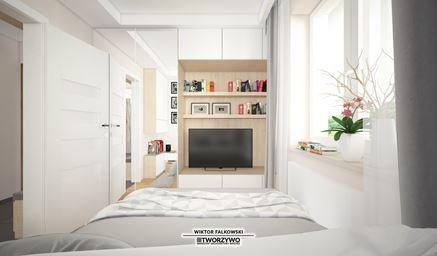 Kącik telewizyjny w małej sypialni