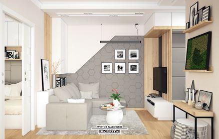 Trójwymiarowa dekoracja z betonu w salonie