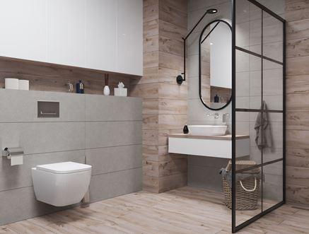 Nowoczesna łazienka w drewnie Azario Bataro i Atienet