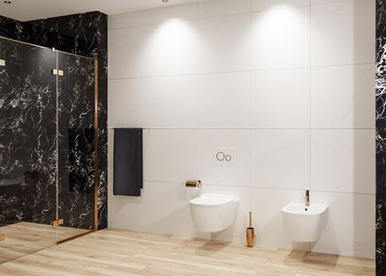 Biała łazienka z drewnem i marmurem