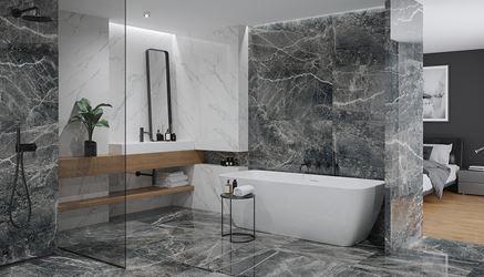 Biało-grafitowa łazienka w stylu glamour