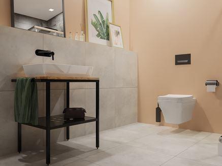 Szaro-kremowa łazienka w nowoczesnej aranżacji