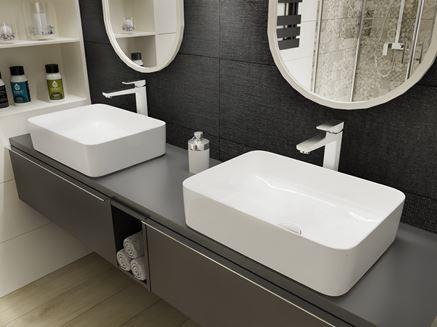 Prostokątne umywalki nablatowe i grafitowe płytki