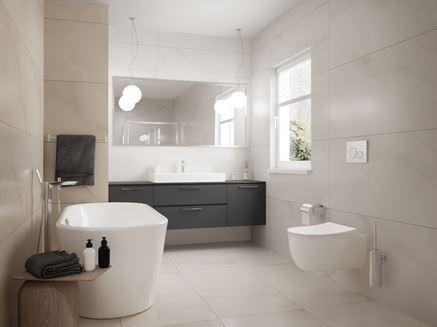 Jasna łazienka z oknem i kaflami Paradyż Elegantstone