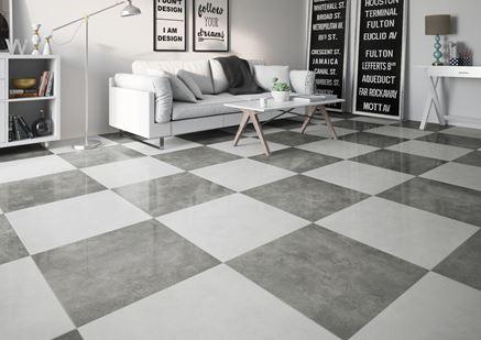Szare i białe płytki w salonie - Cerrad Apenino