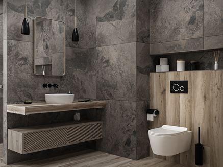 Szarości w nowoczesnej łazience w wielkoformatowym kamieniu
